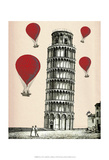 Tower of Pisa and Red Hot Air Balloons Prints by  Fab Funky