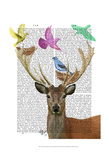 Deer and Birds Nests Pastel Shades Prints by  Fab Funky