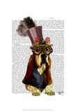 Basset Hound Steampunk Top Hat Goggles Prints by  Fab Funky