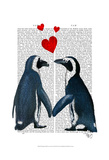 Penguins With Love Hearts Prints by  Fab Funky
