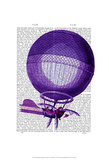 Blanchards Hydrogen (Purple) Hot Air Balloon Print by  Fab Funky