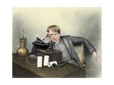 Thomas Edison with Phonograph Giclee Print