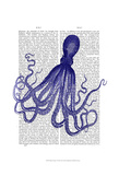 Blue Octopus 4 Prints by  Fab Funky