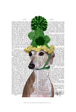 Greyhound in Green Knitted Hat Prints by  Fab Funky