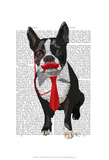 Boston Terrier With Red Tie and Moustache Prints by  Fab Funky