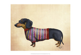 Dachshund With Woolly Sweater Print by  Fab Funky