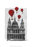 St Pauls Cathedral and Red Hot Air Balloons Art by  Fab Funky