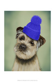 Border Terrier with Blue Bobble Hat Prints by  Fab Funky