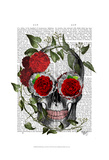 Skull With Roses And Vines Prints by  Fab Funky