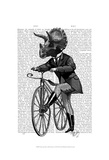 Triceratops Man on Bike Dinosaur Print by  Fab Funky