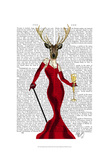 Glamour Deer In Red Posters by  Fab Funky