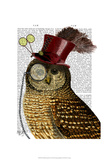 Owl With Top Hat Art by  Fab Funky
