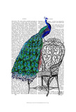 Peacock on Chair Prints by  Fab Funky