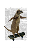Meerkat On Skateboard Affiches par  Fab Funky