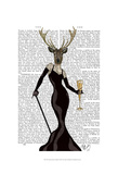 Glamour Deer in Black Prints by  Fab Funky
