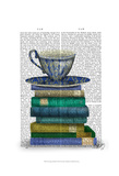 Teacup and Books Prints by  Fab Funky