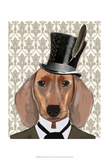 Dachshund Dog With Top Hat Prints by  Fab Funky