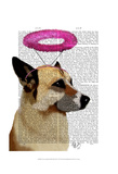 German Shepherd With Pink Halo Poster by  Fab Funky