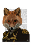 Admiral Fox Portrait Prints by  Fab Funky