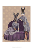 Rabbits in Purple Prints by  Fab Funky