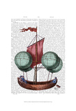 Hot Air Balloon Airship With Red Sail Posters by  Fab Funky