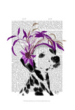 Dalmatian With Purple Fascinator Posters by  Fab Funky