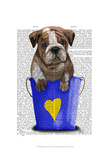 Bulldog Bucket Of Love Blue Posters by  Fab Funky