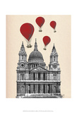 St Pauls Cathedral and Red Hot Air Balloons Posters by  Fab Funky