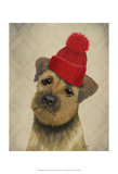 Border Terrier with Red Bobble Hat Poster by  Fab Funky