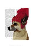 German Shepherd in Red Woolly Hat Posters by  Fab Funky