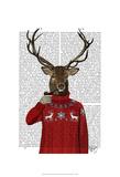 Deer in Ski Sweater Posters par  Fab Funky
