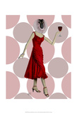 Monkey in Red Dress with wine Posters by  Fab Funky