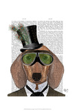 Dachshund Green Goggles Top Hat Posters by  Fab Funky