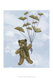Bear with Book Butterflies Prints by  Fab Funky