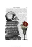 Skull And Books Print by  Fab Funky