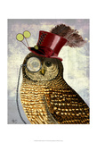 Owl With Top Hat Print by  Fab Funky