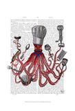 Octopus Fabulous French Chef Art by  Fab Funky