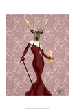 Glamour Deer in Marsala Print by  Fab Funky