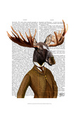 Moose In Suit Portrait Prints by  Fab Funky