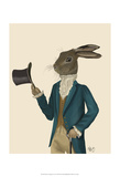 Hare In Turquoise Coat Affiches par  Fab Funky