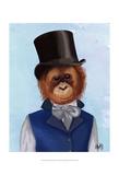 Orangutan in Top Hat Art by  Fab Funky