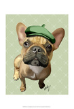 Brown French Bulldog with Green Hat Posters by  Fab Funky