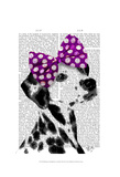 Dalmatian with Purple Bow on Head Print by  Fab Funky