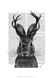 Jackalope with Grey Antlers Prints by  Fab Funky