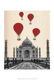 Taj Mahal and Red Hot Air Balloons Prints by  Fab Funky