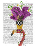 Mardi Gras Flamingo Portrait Prints by  Fab Funky