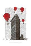 Flat Iron Building and Red Hot Air Balloons Prints by  Fab Funky
