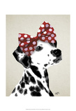 Dalmatian With Red Bow Art by  Fab Funky