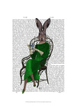 Lady Bella Rabbit Taking Tea Posters by  Fab Funky