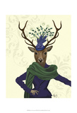 Deer and Fascinator Poster by  Fab Funky
